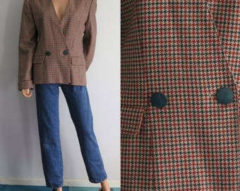 Houndstooth plaid checked blazer jacket, french vintage retro, tweed sports coat, double breasted, medium