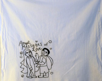 Tea Towel, 100% cotton, white,  27 x 27, Angel Messages of Love design, black ink