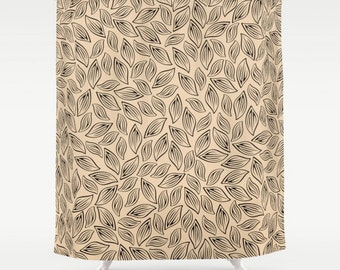 Leaves Shower Curtain, Large Shower Curtain, Beige Bath Curtain, Modern Shower Curtain, Leaf Bath Curtain, Black Brown Shower Curtain 71x74
