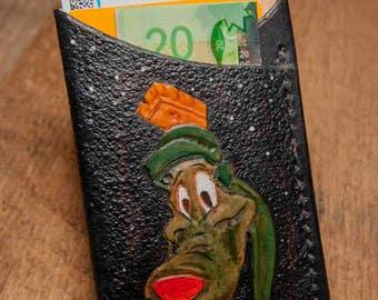 Marvin and K9 handmade leather card sleeve, hand-tooled card case, card holder, leather card case.