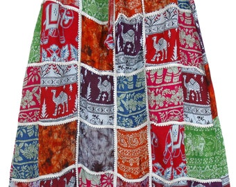 Artistically Inspired Patches Tribal Skirt