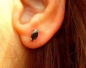 Earrings-Marquise Earrings-Black Diamond Earrings-Stud Earrings-Rose Gold Earrings-Gold Earrings-925K Silver Black Zirconia Earrings