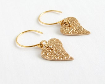 Heart Earrings, Minimalist Contemporary Dangle Drop Gold Bronze Earrings, Wedding Gift, Anniversary Gift, Birthday Gift for Her