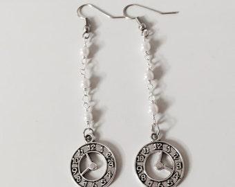 Rosary earrings with clock, watch earrings, timepiece earrings, pearls earrings