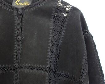 vintage 90s suede knit jacket