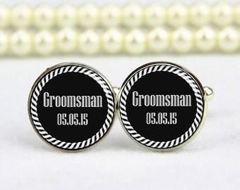 groomsman cufflinks, custom any text or photo, wedding cufflinks, personalized cufflinks, tie clip, groomsman, groom cufflinks, gift for him