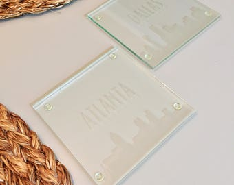 City Skyline Etched Glass Coasters (set of 4) - Atlanta, Boston, Chicago, Dallas, New York, Philadelphia