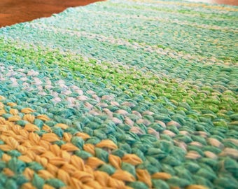 Twined Rag Rug Teal Blue and Yellow Rug 38 x 22inches