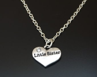 Little Sister Necklace, Little Sister Jewelry, Little Sister Charm, Little Sister Pendant, Sister Necklace, Little Sister Gifts, Sister Gift