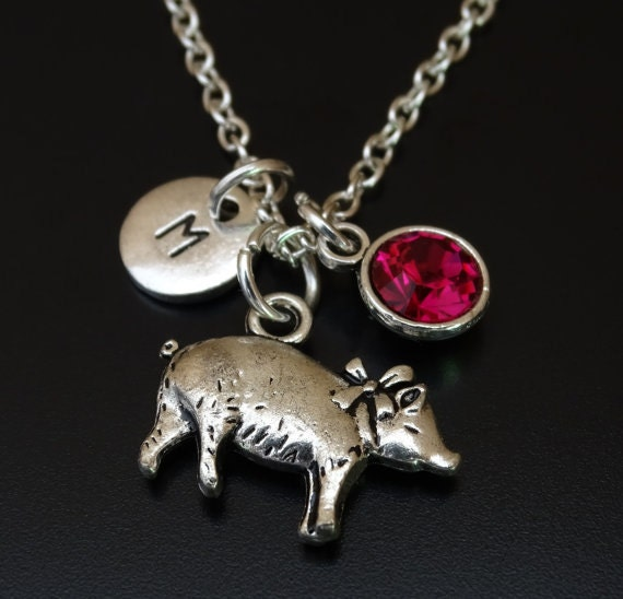 pig necklace pig charm pig pendant pig jewelry tiny pig
