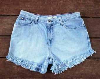 Tommy Hilfiger Shorts High Waisted Denim Shorts Frayed Cutoff Jeans 32 Waist