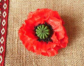 Poppy brooch red poppy pendant polymer clay jewelry poppy necklace gift for her poppy pin floral jewelry flower pendant flower brooch Badge