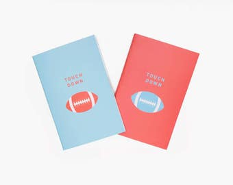 Touch Down Stitched Pocket Notebook Set Matte Blue and Red w/ Blank and Lined Pages