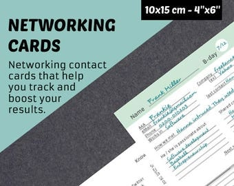 Instant Download Address Book for Networking - Business contacts log - printable pdf contacts tracker - A4 printable 4''x6'' contact cards