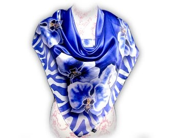 Mothers day gift, Blue silk scarf, Blue scarves, Silk Scarves, Luxury Silk Scarf,  Fashion scarf, Designer scarf, Square Scarf, Satin scarf
