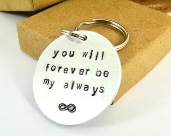 Valentines Gift Keyring Infinity Love Token for Boyfriend Gift Girlfriend Gift For Him For Her Hand Stamped Anniversary Gift