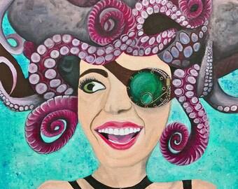 ART PRINT / Mrs. Octomonopoeia / Steampunk / Octopus Hybrid Hair /Painting  Paper Print