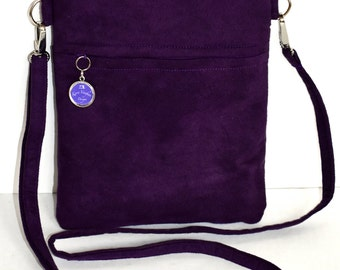 Purple faux suede crossbody bag