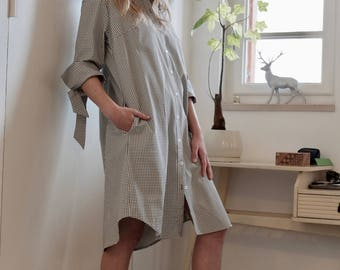Linen dress, Button up shirt dress, Square Dress, Linen shirt dress, Linen summer dress, Spring dress, Loose dress, Printed dress