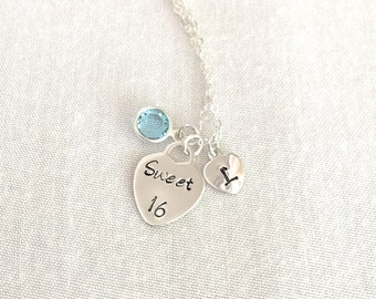 Personalised Sweet 16 Necklace, Birthday Gift, Tiffany Heart, Birthstone Necklace, Initial Necklace, Sister Gift, Best Friend Gift, Daughter