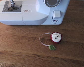 Red Apple Pin Cushion/Covered Retractable Tape Measure, #OOAK, Hand knitted