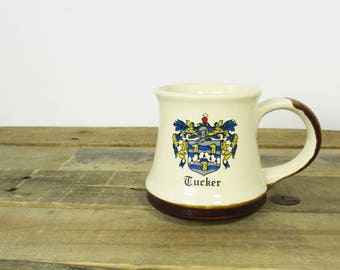 Vintage 'Tucker' Family Crest Coffee Mug. Great Gift for anyone with the First Name Tucker or the Last Name Tucker. Family Name Mug.