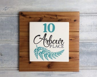 Home address sign - Housewarming gift - Street name - House number - Hand painted plaque - Teal fern design - Wooden sign - Family home sign