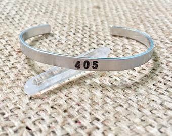 Area Code Cuff, Oklahoma Cuff, Oklahoma Bracelet, Silver Stamped Cuff, Stamped Cuff Bracelet, Hand Stamped Jewelry, Custom Stamped Cuff,