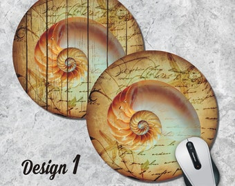 Nautilus Mousepad, Seashell Mouse Pad, Seahorse Mouse Pad, Sealife, Vintage Mousepad, Round Pad, Office Decor, Desk Accessorry, Five Designs