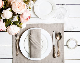 Organic Linen placemats Set of 2 made of natural softened grey linen