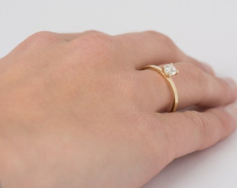 Simple Solitaire Engagement Ring, 14K Yellow Gold Diamond Ring, Single Diamond Ring, Delicate Gold Band, Dainty Engagement Ring