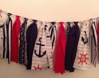 Nautical Fabric Banner 5 ft - Nautical Banner - Nautical Bunting - Nautical Garland - Nautical Pennant - Nautical Birthday Party Decoration