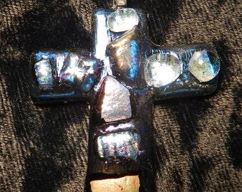 """Art Glass, Dichroic Glass Cross Pendant, Iridescent,  Metallics, 2"""" tall"""