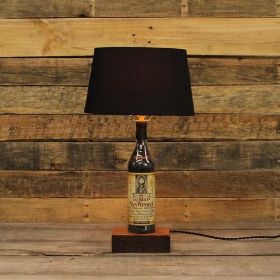 Old Rip Van Winkle Bourbon Bottle Table Lamp, Authentic Bourbon Barrel Char, Reclaimed Wood Base, Full Sized Table Lamp, Whiskey Bottle