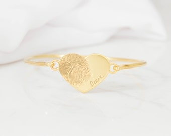 Fingerprint Jewelry - Actual Fingerprint Bangle - Custom Fingerprint in Sterling Silver - Personalized Gift - VALENTINES GIFTS