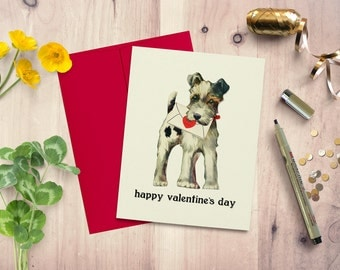 Valentine's day card, card from dog, card for girlfriend, card for boyfriend, blank inside, greeting card