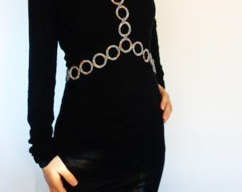 Crochet Pattern - Rings Body Necklace, Textile Body Jewelery, Shiny Sexy Body Harness Accessory, Chunky Choker