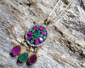"925 sterling silver with gold plating & genuine Indian Ruby, Indian Emerald + Swarovski elements Turkish inspired necklace. 18"" chain. *52*"