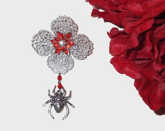 Silver and Red Poinsettia and Spider Brooch