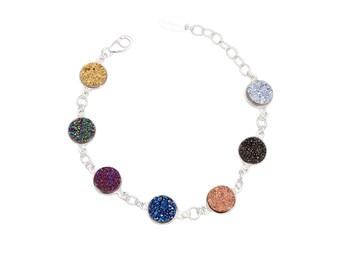Druzy bracelet, sterling silver, link bracelet, gemstone bracelet, multi color bracelet, druzy jewelry, gift for her, adjustable bracelet