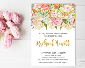 Baby Shower Invitation Girl, Girl Baby Shower Invitations, Floral Baby Shower Invite, Printable, Custom, Personalized, Digital Download