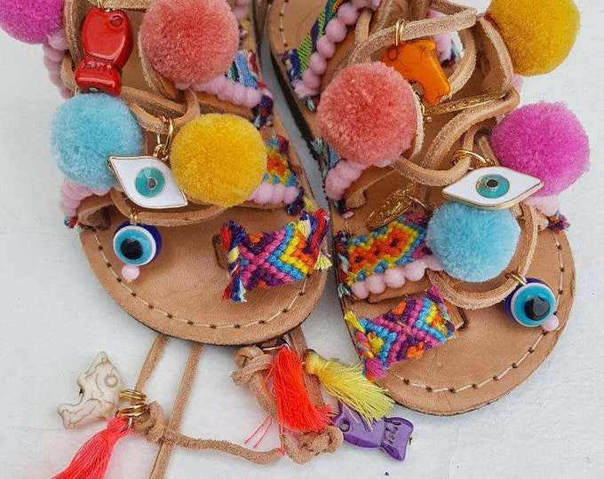 Greek sandals,handmade sandals,pompom sandals,ethnic sandals,baby shoes,baby sandals,gladiator sandals,colorful sandals,beaded sandals,girl