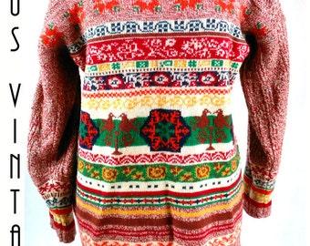 "Size L 1980s Vintage Folk Nordic Wool Jumper Sweater Hippy Boho EU 44 US 12 Bust 46""  117cm"