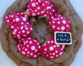 Baby Girl Shower Decoration/It's a Girl/Baby Shower Wreath/Hospital Door Wreath/Baby Girl Nursery Wall Decor/Baby Girl Wreath/Baby Girl Gift