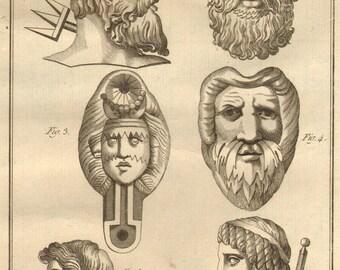 1804 Rare Antique Greek Mythology Print Engraving Roman Gods Triton Neptune Laid Paper Encyclopédie Méthodique Recueil D'Antiquites French