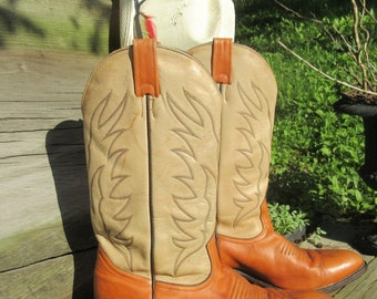 Boulet Cowboy Boots, women's size 9.5, Men's size 8, two tone leather Boots, Western Boots