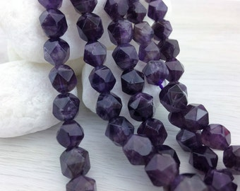 Amethyst Nugget Beads, Faceted Amethyst Beads, 7-8mm, Natural Stone, 24 pcs, Nugget Beads, Deep Purple, Amethyst Beads, S133