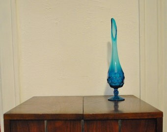 Vintage Swung Glass Vase w/ Scalloped Sides Cobalt Blue Mid Century Viking