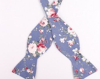 Men's Blue And Pink Self Tie Bow Tie| Flower | Self Tie | Bow Tie | Bowtie | Floral | Wedding | Groom | Gift | Ideas | for him