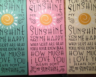 "Wood sign, You Are My Sunshine sign 12"" x 24"" wood wall art baby wall decor inspirational sign sunshine wall decor child's room wall art"